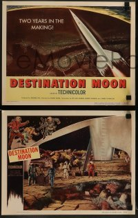5c056 DESTINATION MOON 8 LCs '50 Robert A. Heinlein, great images of astronauts in space + rocket!