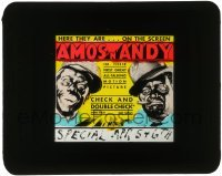 5d005 CHECK & DOUBLE CHECK glass slide '30 great art of Amos 'n' Andy in the only movie adaptation!