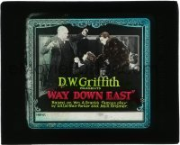 5d007 WAY DOWN EAST glass slide '20 D.W. Griffith classic, Lillian Gish begs forgiveness, rare!