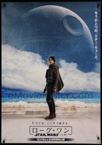 5d212 ROGUE ONE teaser Japanese 29x41 '16 A Star Wars Story, Jyn Erso on beach by Death Star, rare!