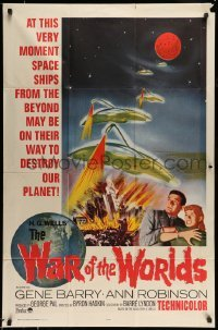 5d001 WAR OF THE WORLDS 1sh R65 with wonderful art, includes presskit w/ 7 stills, rare!