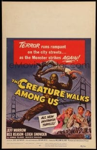 5d066 CREATURE WALKS AMONG US WC '56 Reynold Brown art of monster attacking by Golden Gate Bridge!