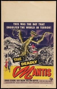 5d067 DEADLY MANTIS WC '57 art of soldiers attacking giant insect monster by Ken Sawyer!