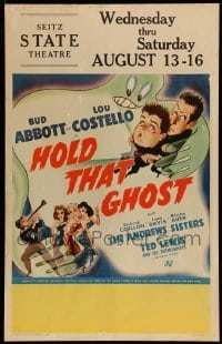 5d070 HOLD THAT GHOST WC '41 great artwork of scared Bud Abbott & Lou Costello + Andrews Sisters!