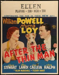 5d103 AFTER THE THIN MAN jumbo WC '36 William Powell, Myrna Loy & Asta the dog too, ultra rare!