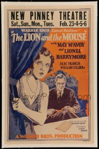 5d071 LION & THE MOUSE linen WC '28 cool art of May McAvoy & Lionel Barrymore holding ticker tape!