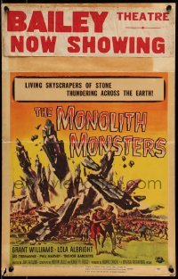 5d072 MONOLITH MONSTERS WC '57 classic Reynold Brown sci-fi art of living skyscrapers of stone!