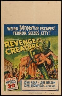5d075 REVENGE OF THE CREATURE 3D WC '55 best Reynold Brown art of monster holding girl, ultra rare!