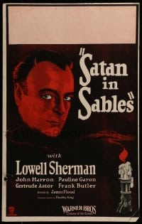 5d076 SATAN IN SABLES WC '25 great art of Lowell Sherman with Devil horns by candle, ultra rare!