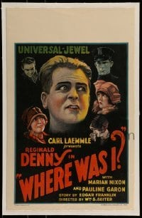 5d079 WHERE WAS I linen WC '25 great art of amnesiac Reginald Denny surrounded by top cast, rare!