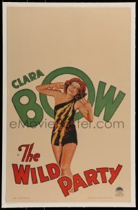 5d080 WILD PARTY linen WC '29 hear Clara Bow's voice in this all-talking picture, sexy artwork!