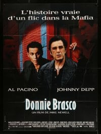 5k686 DONNIE BRASCO French 1p '97 mobster Al Pacino betrayed by undercover FBI agent Johnny Depp!