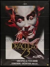 5k690 DRACULA A.D. 1972 French 1p '73 different Landi art of Christopher Lee over naked ladies!