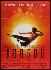 5k692 DRAGON: THE BRUCE LEE STORY French 1p '93 Bruce Lee bio, cool image of Jason Scott Lee!