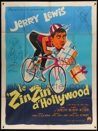 5k705 ERRAND BOY French 1p '63 different Boris Grinsson art of wacky Jerry Lewis on bicycle!
