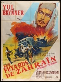 5k706 ESCAPE FROM ZAHRAIN French 1p '63 different art of Yul Brynner over desert by Roger Soubie!