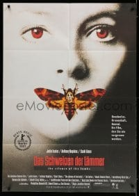 5k052 SILENCE OF THE LAMBS German 33x47 '90 great image of Jodie Foster with moth over mouth!