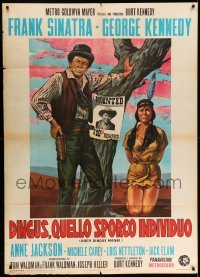 5k351 DIRTY DINGUS MAGEE Italian 1p '71 different art of Frank Sinatra & Carey by wanted poster!