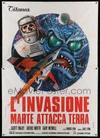 5k274 DESTINATION INNER SPACE Italian 2p '74 cool different monster artwork by Luca Crovato!