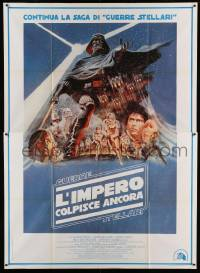 5k279 EMPIRE STRIKES BACK Italian 2p '80 George Lucas sci-fi classic, cool artwork by Tom Jung!