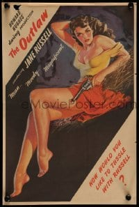 5k042 OUTLAW magazine ad '46 sexy art of Jane Russell by famous pin-up artist Zoe Mozert!