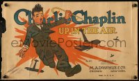 5k043 CHARLIE CHAPLIN 10x17 book cover '17 great image of the comic genius, Up in the Air!