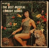 5k030 BEST MUSICAL COMEDY SONGS record '57 super sexy Betty Page with cheetahs on the cover!