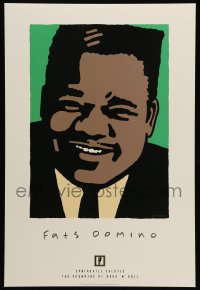 5k040 FATS DOMINO 2-sided 14x21 music poster '97 Schwab artwork of the legendary blues pianist!