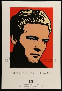 5k041 JERRY LEE LEWIS 2-sided 14x21 music poster '97 Schwab artwork of rock 'n' roll piano player!