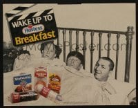 5k028 THREE STOOGES standee '90 Moe, Larry & Curly wake up to Hostess snacks!