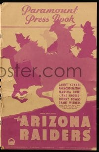 5k057 ARIZONA RAIDERS pressbook '36 Buster Crabbe, from Zane Grey's story, cool silhouette art!