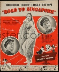 5k069 ROAD TO SINGAPORE pressbook '40 Bing Crosby, Bob Hope & sexy Dorothy Lamour!