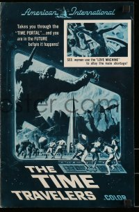 5k071 TIME TRAVELERS pressbook '64 cool Reynold Brown sci-fi art of the crack in space and time!
