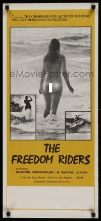 5p043 FREEDOM RIDERS Aust daybill '72 completely naked Aussie surfer girl, yellow border design!