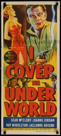 5p044 I COVER THE UNDERWORLD Aust daybill '55 cool art of sexy smoking bad girl, McClory w/gun!