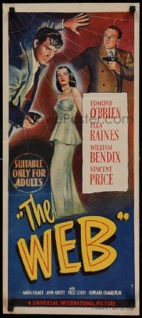 5p047 WEB Aust daybill 47 Edmond OBrien  sexy full-length Ella Raines cool film noir art