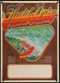 5p049 FLUID DRIVE Aust special poster '74 cool surfing artwork by Steve Core & Hugh McLeod!