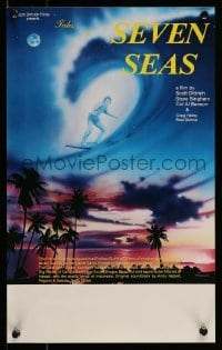 5p052 TALES OF THE SEVEN SEAS Aust special poster '81 cool surfing image and art of surfer in sky!