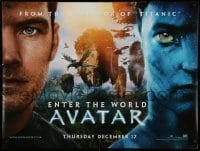 5p077 AVATAR teaser DS British quad '09 James Cameron directed, Worthington, Enter the World!