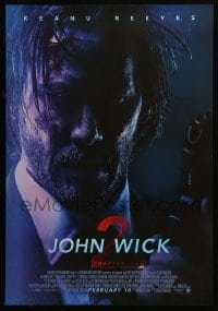 5p057 JOHN WICK CHAPTER 2 advance Canadian 1sh '17 Keanu Reeves in the title role with gun!