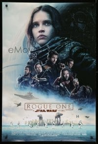 5p074 ROGUE ONE advance DS 1sh '16 A Star Wars Story, cast montage, huge battle, Death Star