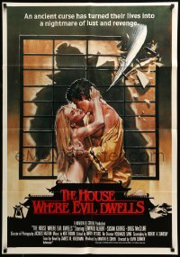 5p006 HOUSE WHERE EVIL DWELLS South African '82 John Solie art of lovers about to be sliced in half!