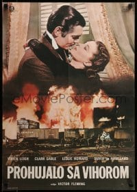 5p013 GONE WITH THE WIND Yugoslavian 19x27 R70s romantic close up of Clark Gable & Vivien Leigh!