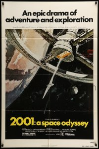 5t013 2001: A SPACE ODYSSEY 1sh R80 Stanley Kubrick, art of space wheel by Bob McCall!