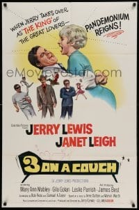 5t001 3 ON A COUCH 1sh '66 great image of screwy Jerry Lewis squeezing sexy Janet Leigh!