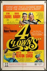 5t003 4 CLOWNS 1sh '70 Stan Laurel & Oliver Hardy, Buster Keaton, Charley Chase!