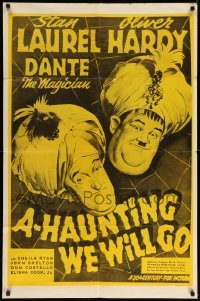 5t024 A-HAUNTING WE WILL GO 1sh R60s wacky Stan Laurel & Oliver Hardy in turbans!