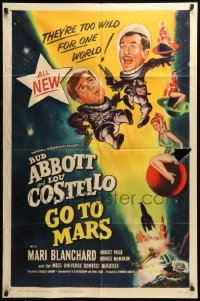 5t014 ABBOTT & COSTELLO GO TO MARS 1sh '53 art of wacky astronauts Bud & Lou in outer space!