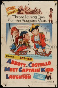 5t015 ABBOTT & COSTELLO MEET CAPTAIN KIDD 1sh '53 art of pirates Bud & Lou with Charles Laughton!