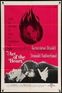 5t017 ACT OF THE HEART 1sh '71 Bujold, Sutherland, I am different, red background design!